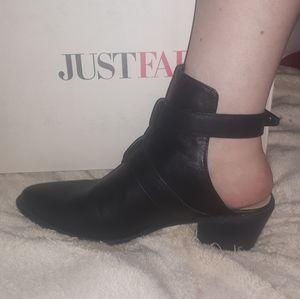 Exposed heel booties with buckles